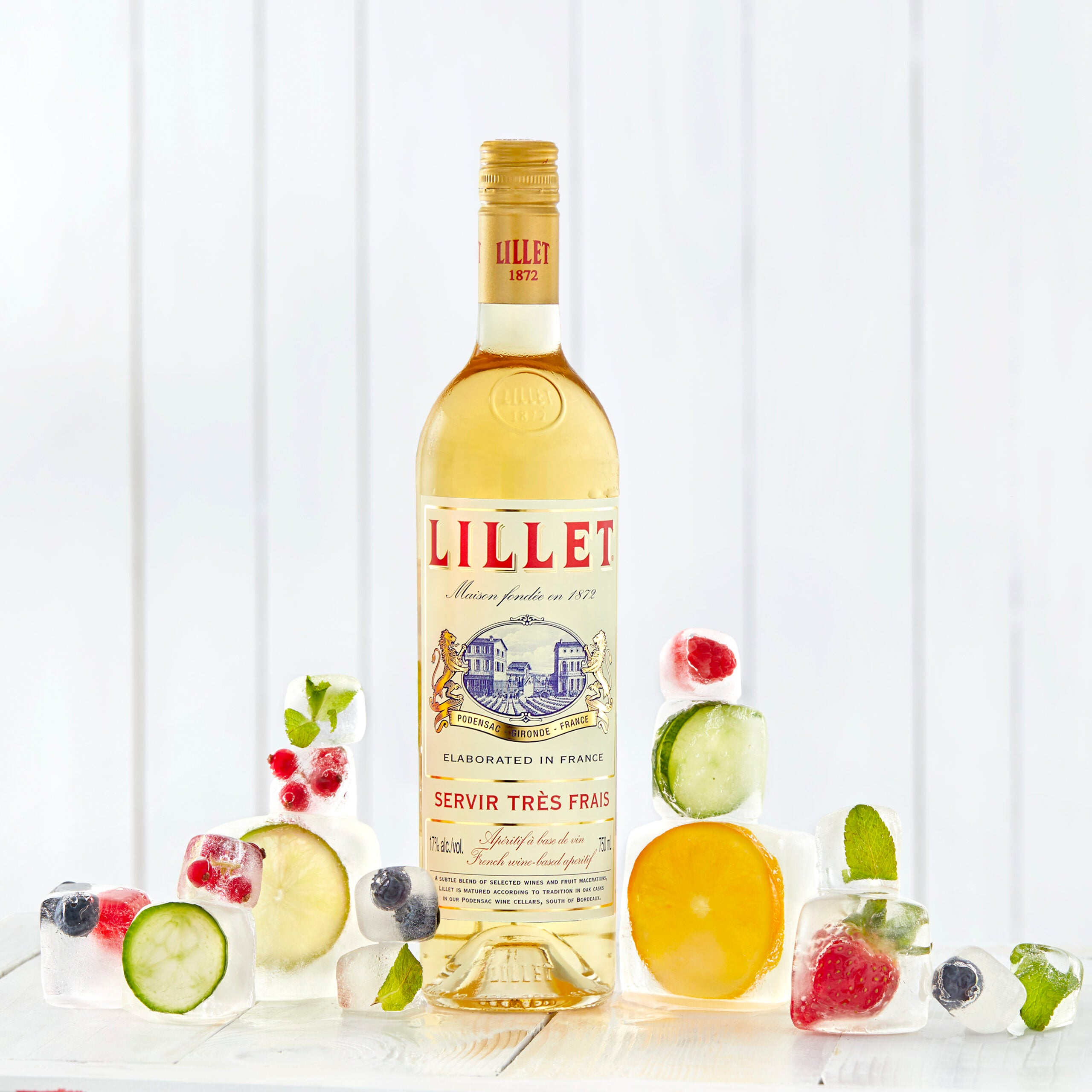 Lillet blanc iced fruits